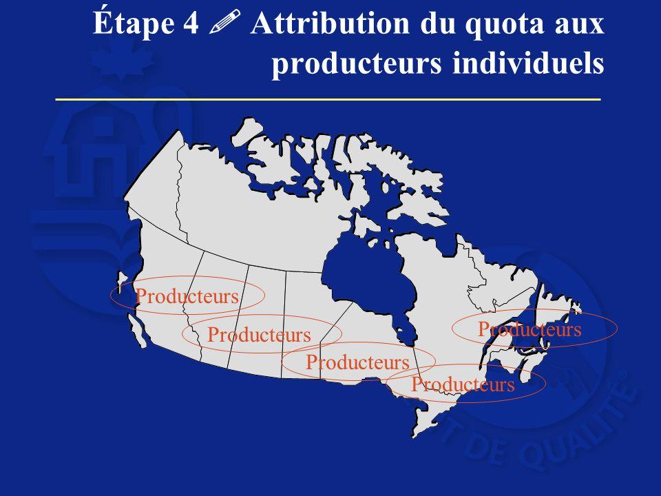 Étape 4 Attribution du quota aux producteurs individuels Producteurs