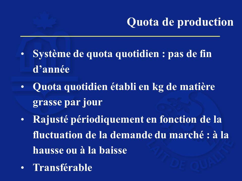 Système de quota quotidien : pas de fin dannée Quota quotidien établi en kg de matière grasse par jour Rajusté périodiquement en fonction de la fluctu