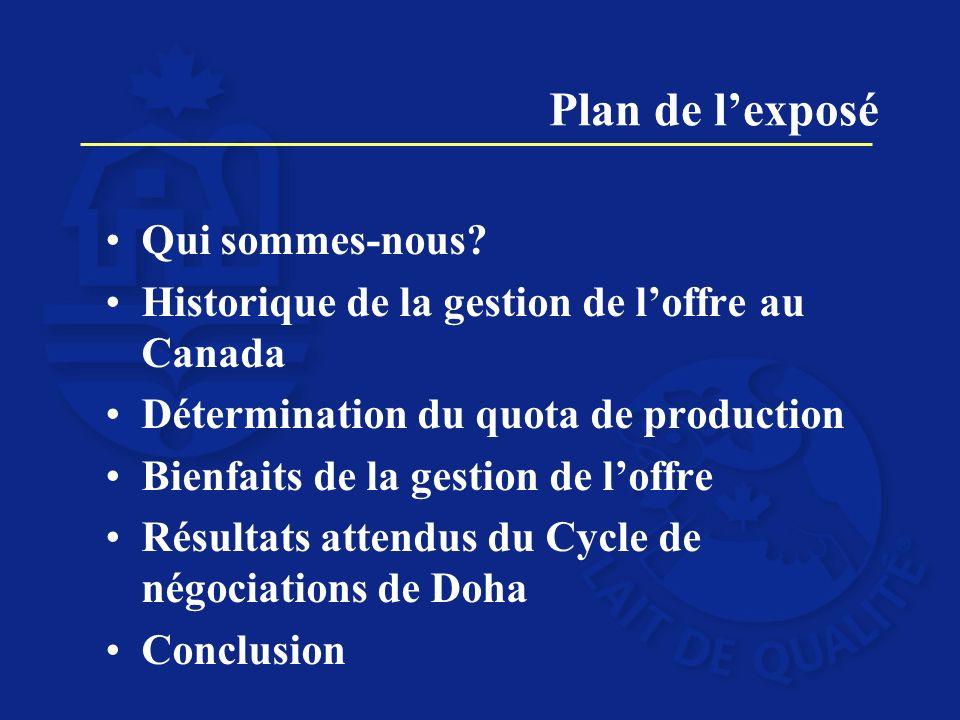 Plan de lexposé Qui sommes-nous? Historique de la gestion de loffre au Canada Détermination du quota de production Bienfaits de la gestion de loffre R