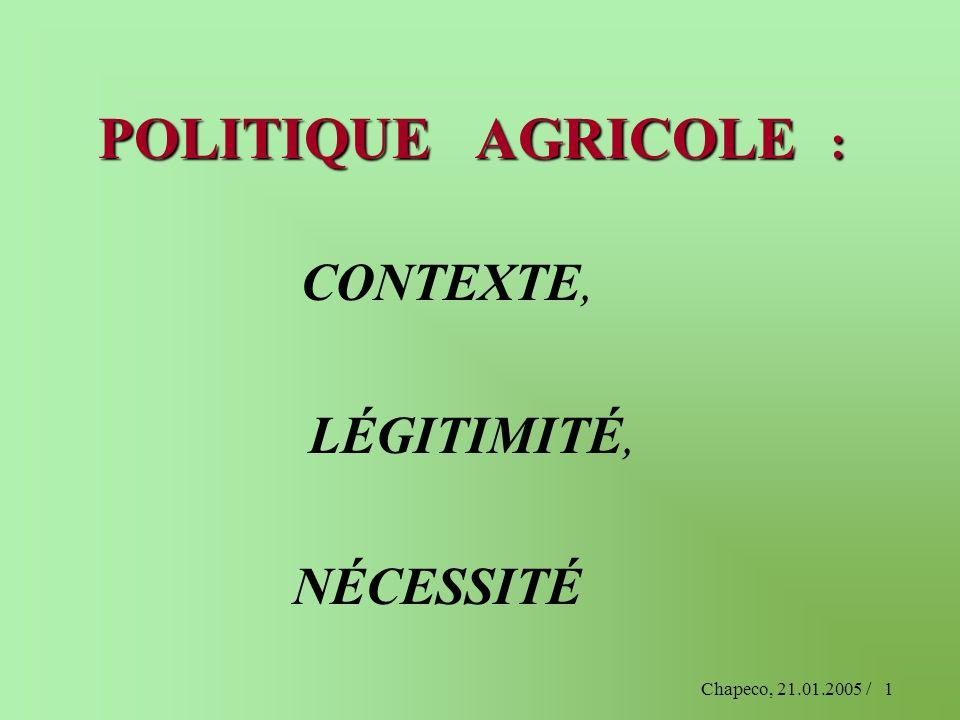 Chapeco, 21.01.2005 /1 POLITIQUE AGRICOLE : CONTEXTE, LÉGITIMITÉ, NÉCESSITÉ
