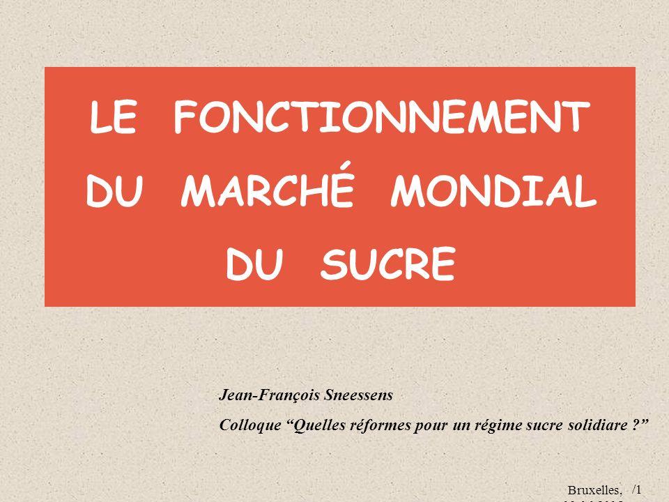 Bruxelles, 09.06.2005 /1 LE FONCTIONNEMENT DU MARCHÉ MONDIAL DU SUCRE Jean-François Sneessens Colloque Quelles réformes pour un régime sucre solidiare