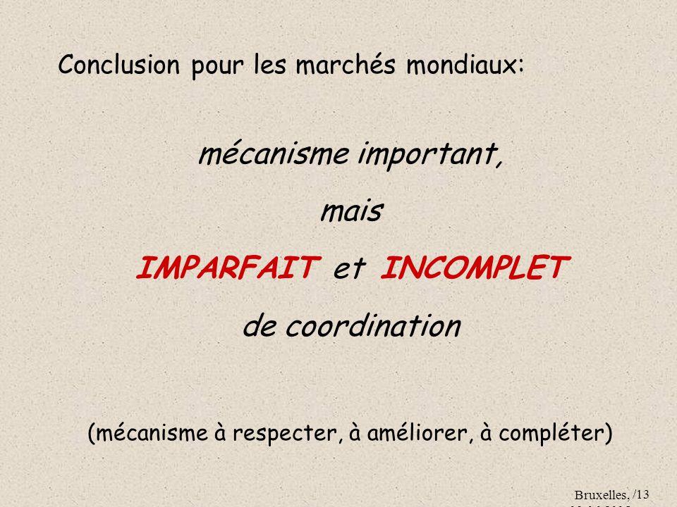 Bruxelles, 09.06.2005 /13 Conclusion pour les marchés mondiaux: mécanisme important, mais IMPARFAIT et INCOMPLET de coordination (mécanisme à respecte