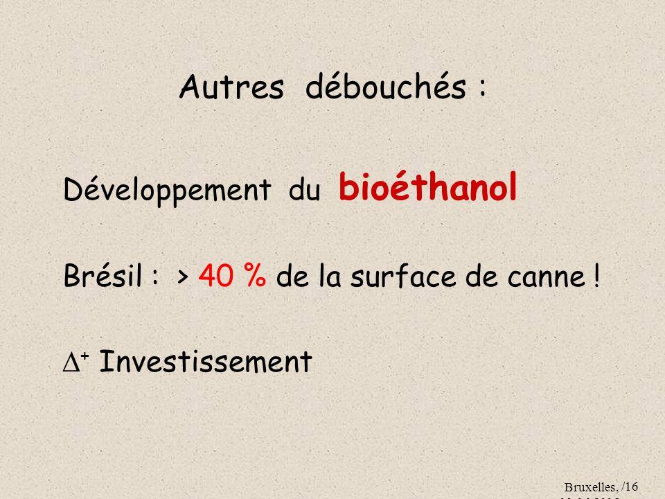 Bruxelles, 09.06.2005 /16 Autres débouchés : Développement du bioéthanol Brésil : > 40 % de la surface de canne ! + Investissement