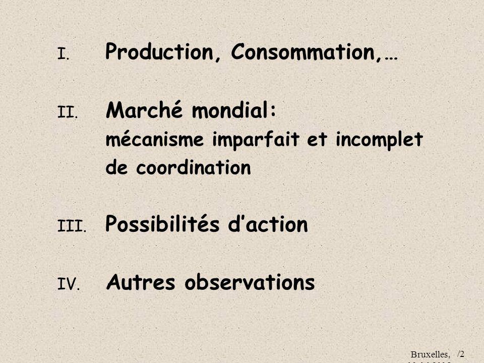 Bruxelles, 09.06.2005 /2 I. Production, Consommation,… II. Marché mondial: mécanisme imparfait et incomplet de coordination III. Possibilités daction