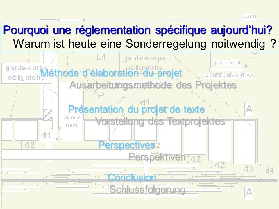 Méthode délaboration du projet Ausarbeitungsmethode des Projektes Présentation du projet de texte Vorstellung des Textprojekts PerspectivesPerspektiven ConclusionSchlussfolgerung Pourquoi une réglementation spécifique aujourdhui.