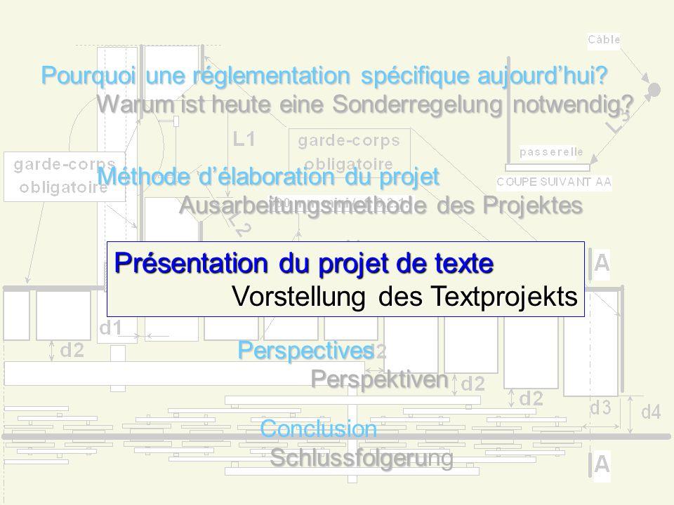 Méthode délaboration du projet Ausarbeitungsmethode des Projektes Création en décembre 1998 par le STRMTG dun groupe de travail où toutes les parties