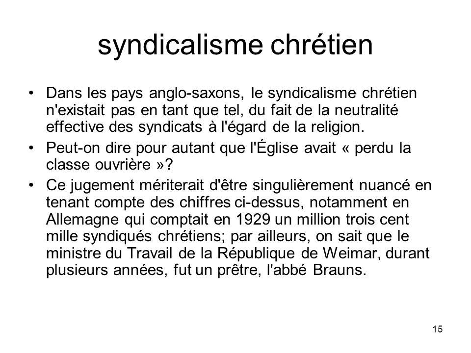 15 syndicalisme chrétien Dans les pays anglo-saxons, le syndicalisme chrétien n'existait pas en tant que tel, du fait de la neutralité effective des s