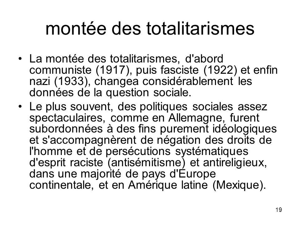 19 montée des totalitarismes La montée des totalitarismes, d'abord communiste (1917), puis fasciste (1922) et enfin nazi (1933), changea considérablem