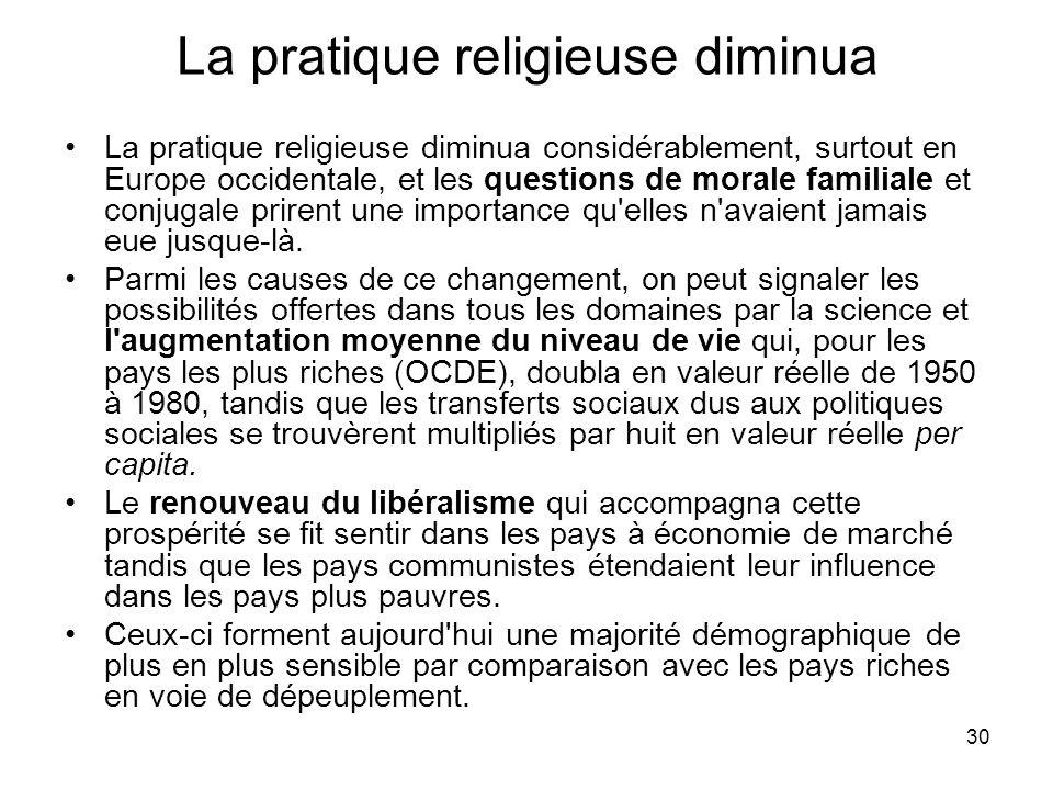 30 La pratique religieuse diminua La pratique religieuse diminua considérablement, surtout en Europe occidentale, et les questions de morale familiale