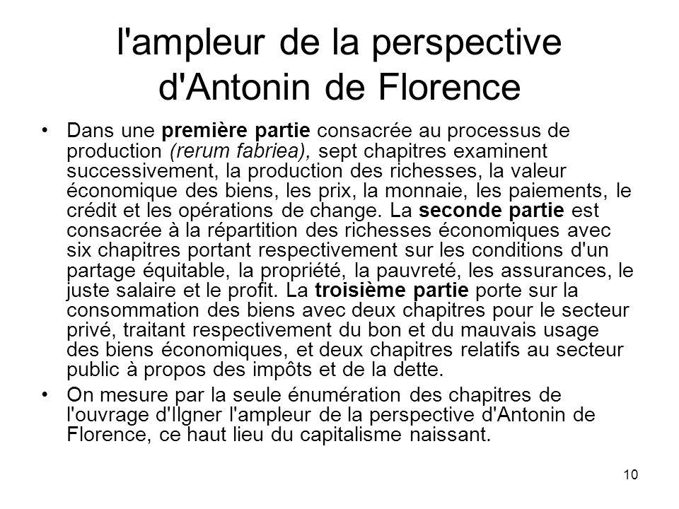 10 l'ampleur de la perspective d'Antonin de Florence Dans une première partie consacrée au processus de production (rerum fabriea), sept chapitres exa