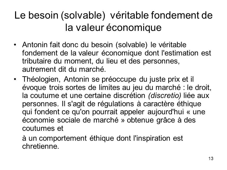 13 Le besoin (solvable) véritable fondement de la valeur économique Antonin fait donc du besoin (solvable) le véritable fondement de la valeur économi