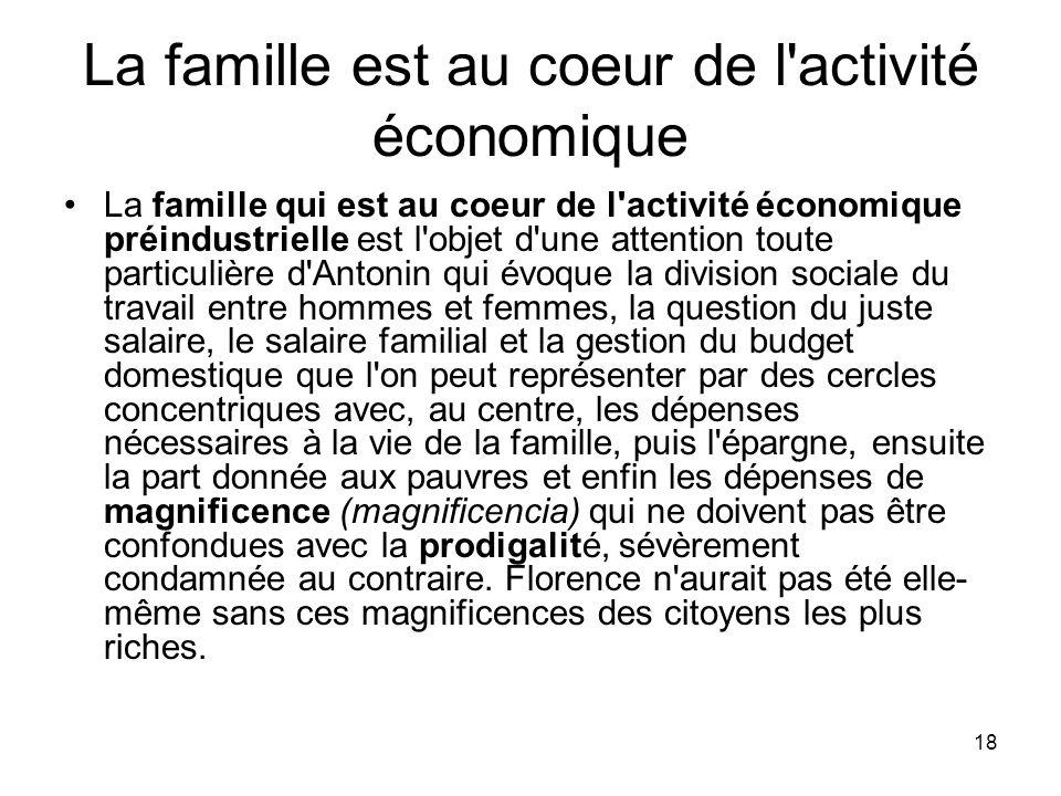 18 La famille est au coeur de l'activité économique La famille qui est au coeur de l'activité économique préindustrielle est l'objet d'une attention t