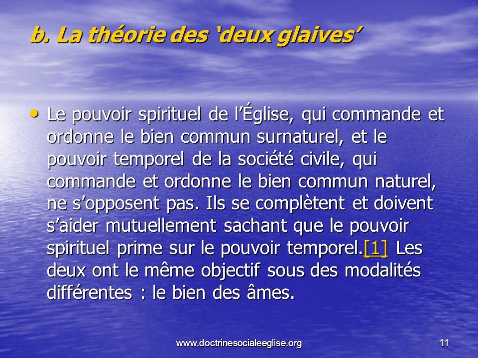 www.doctrinesocialeeglise.org11 b. La théorie des deux glaives Le pouvoir spirituel de lÉglise, qui commande et ordonne le bien commun surnaturel, et