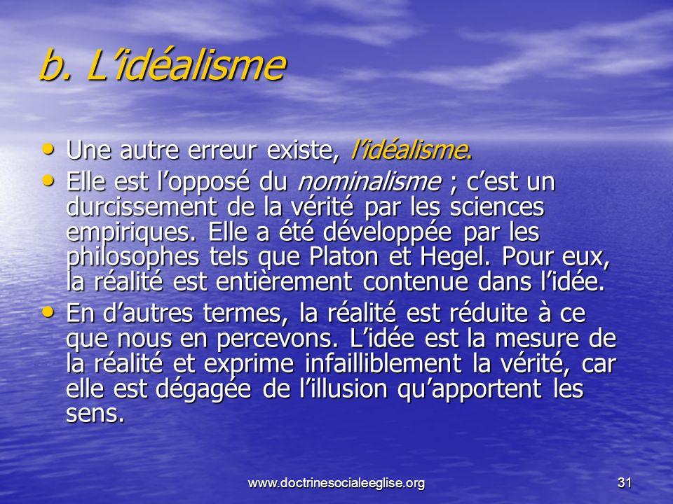 www.doctrinesocialeeglise.org31 b. Lidéalisme Une autre erreur existe, lidéalisme. Une autre erreur existe, lidéalisme. Elle est lopposé du nominalism