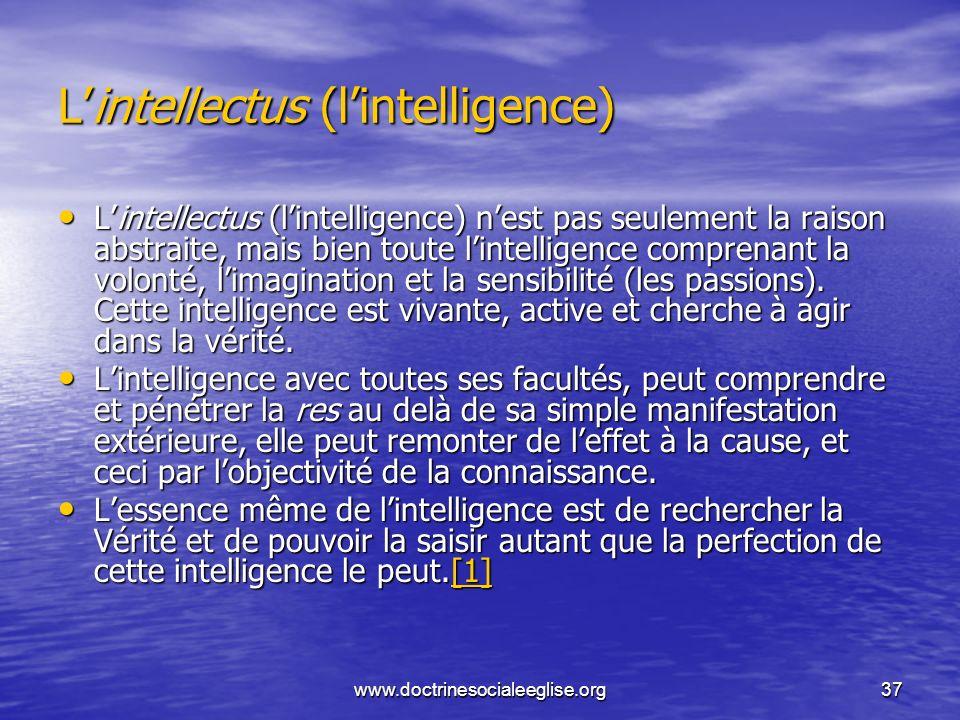 www.doctrinesocialeeglise.org37 Lintellectus (lintelligence) Lintellectus (lintelligence) nest pas seulement la raison abstraite, mais bien toute lint