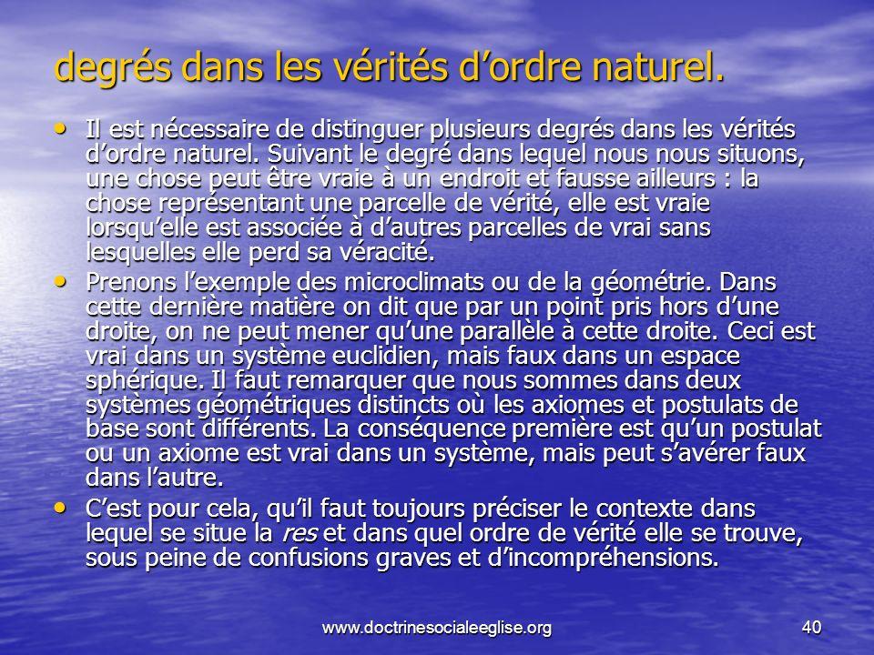 www.doctrinesocialeeglise.org40 degrés dans les vérités dordre naturel. Il est nécessaire de distinguer plusieurs degrés dans les vérités dordre natur