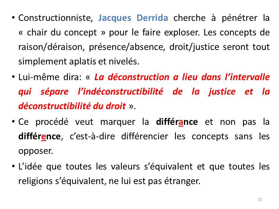 Constructionniste, Jacques Derrida cherche à pénétrer la « chair du concept » pour le faire exploser. Les concepts de raison/déraison, présence/absenc