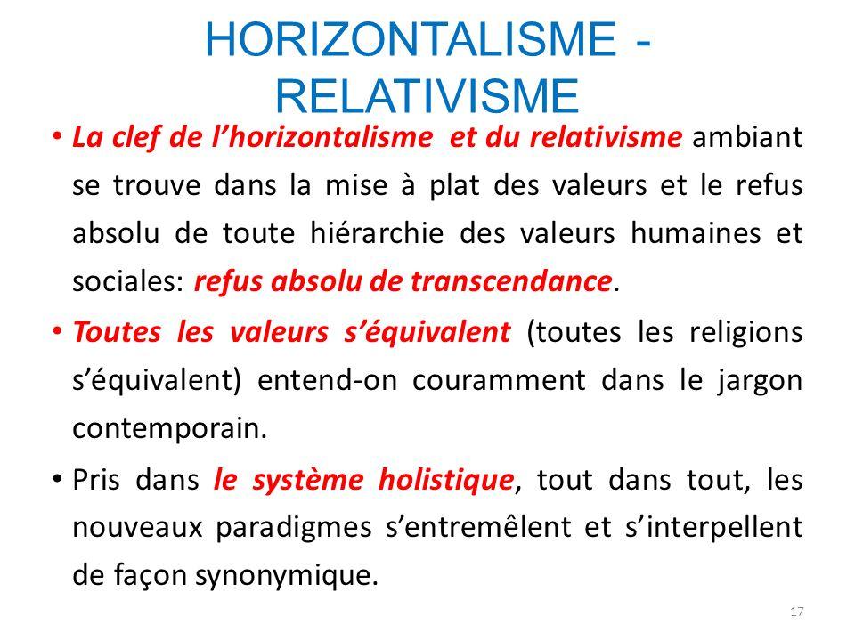 HORIZONTALISME - RELATIVISME La clef de lhorizontalisme et du relativisme ambiant se trouve dans la mise à plat des valeurs et le refus absolu de tout