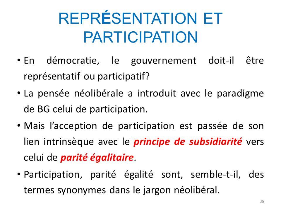 REPRÉSENTATION ET PARTICIPATION En démocratie, le gouvernement doit-il être représentatif ou participatif? La pensée néolibérale a introduit avec le p