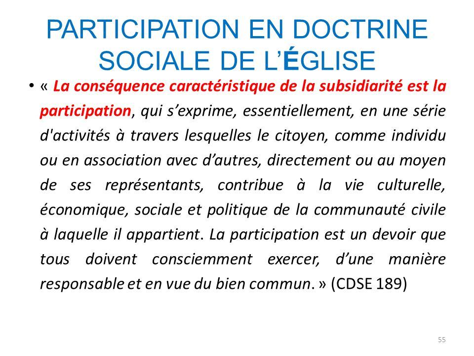 PARTICIPATION EN DOCTRINE SOCIALE DE LÉGLISE « La conséquence caractéristique de la subsidiarité est la participation, qui sexprime, essentiellement,