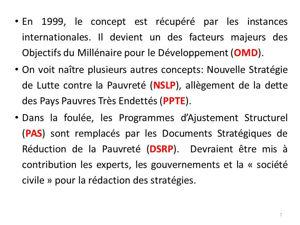 En 1999, le concept est récupéré par les instances internationales. Il devient un des facteurs majeurs des Objectifs du Millénaire pour le Développeme