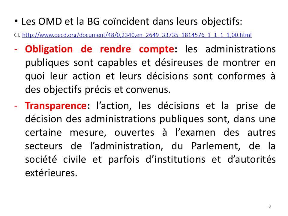 Les OMD et la BG coïncident dans leurs objectifs: Cf. http://www.oecd.org/document/48/0,2340,en_2649_33735_1814576_1_1_1_1,00.htmlhttp://www.oecd.org/