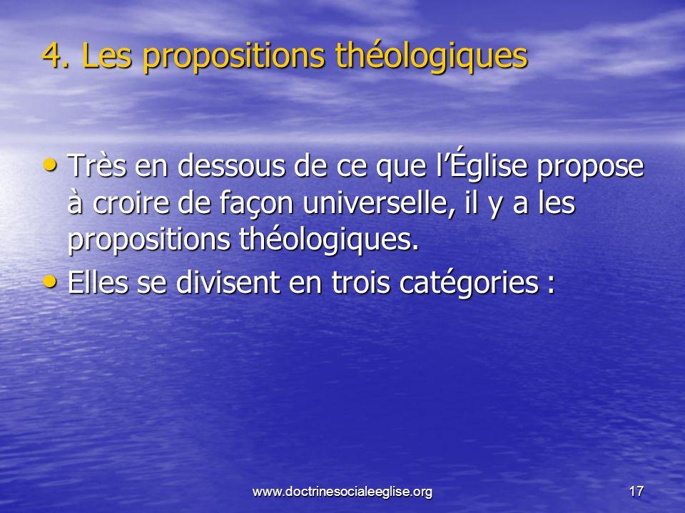 www.doctrinesocialeeglise.org17 4. Les propositions théologiques Très en dessous de ce que lÉglise propose à croire de façon universelle, il y a les p