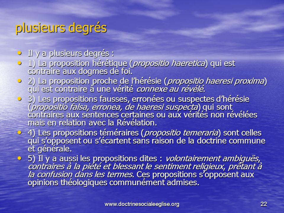 www.doctrinesocialeeglise.org22 plusieurs degrés Il y a plusieurs degrés : Il y a plusieurs degrés : 1) La proposition hérétique (propositio haeretica