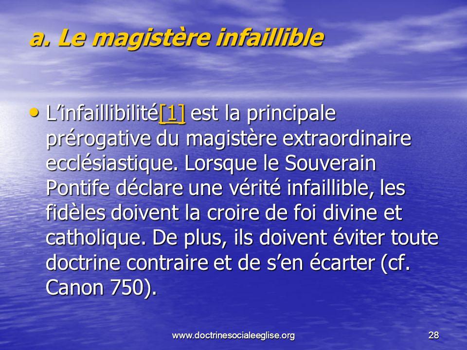 www.doctrinesocialeeglise.org28 a. Le magistère infaillible Linfaillibilité[1] est la principale prérogative du magistère extraordinaire ecclésiastiqu