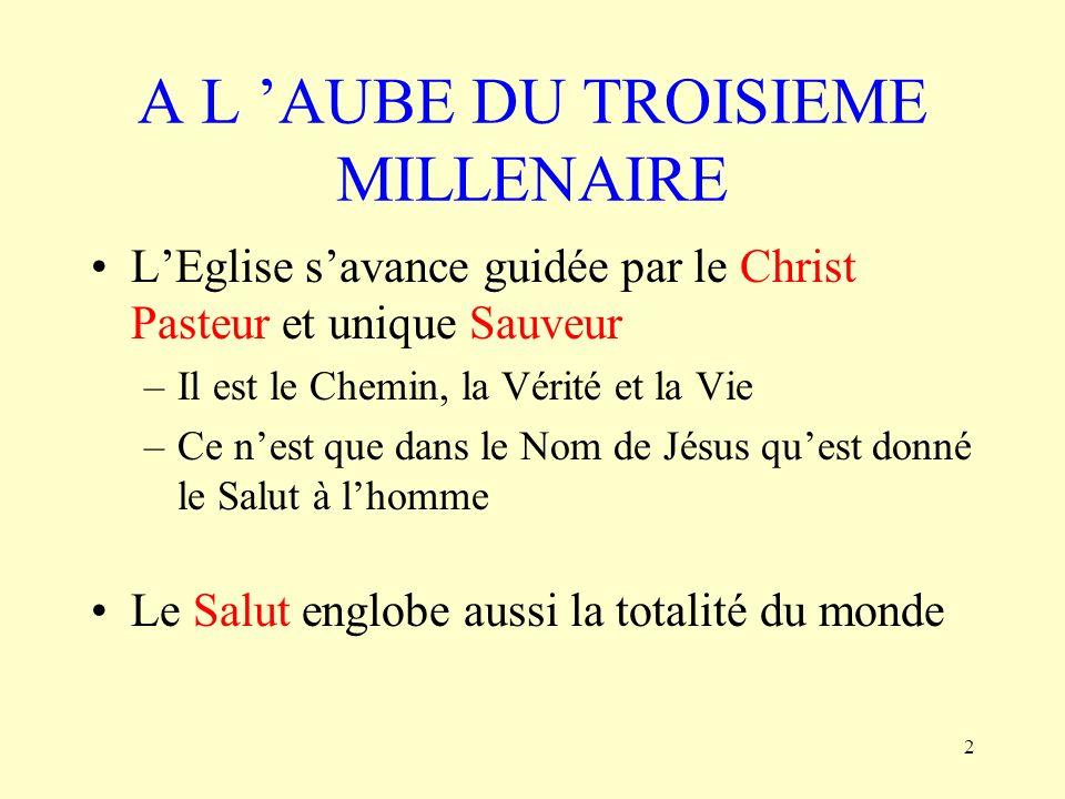2 A L AUBE DU TROISIEME MILLENAIRE LEglise savance guidée par le Christ Pasteur et unique Sauveur –Il est le Chemin, la Vérité et la Vie –Ce nest que