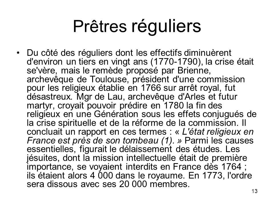 13 Prêtres réguliers Du côté des réguliers dont les effectifs diminuèrent d'environ un tiers en vingt ans (1770-1790), la crise était se'vère, mais le