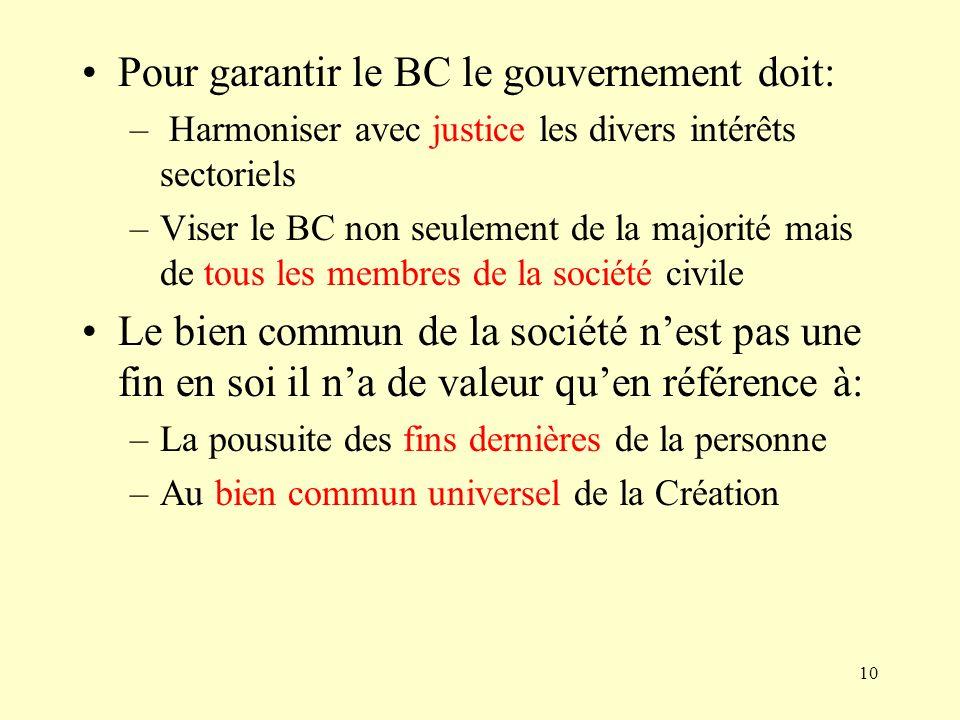10 Pour garantir le BC le gouvernement doit: – Harmoniser avec justice les divers intérêts sectoriels –Viser le BC non seulement de la majorité mais d
