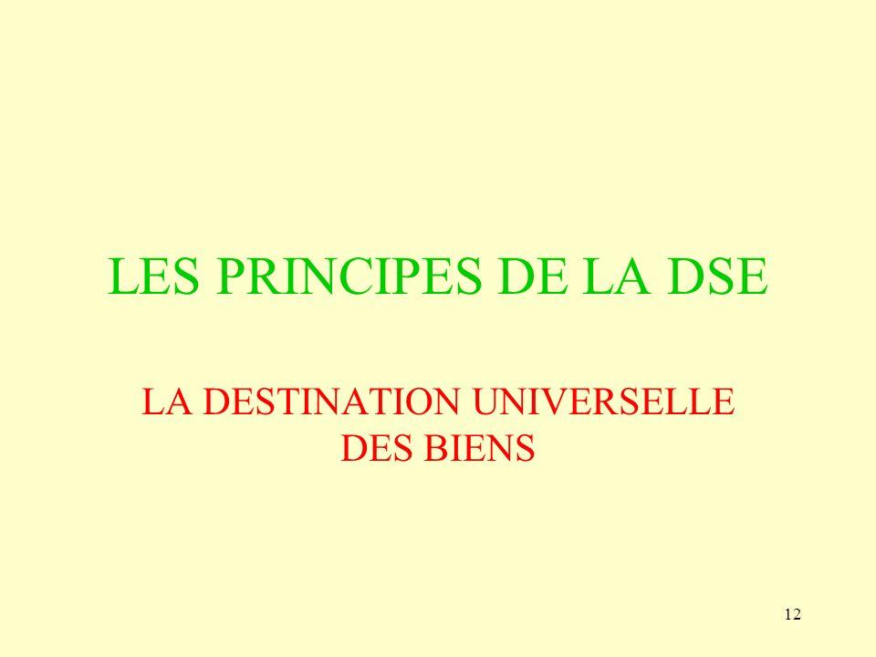 12 LES PRINCIPES DE LA DSE LA DESTINATION UNIVERSELLE DES BIENS