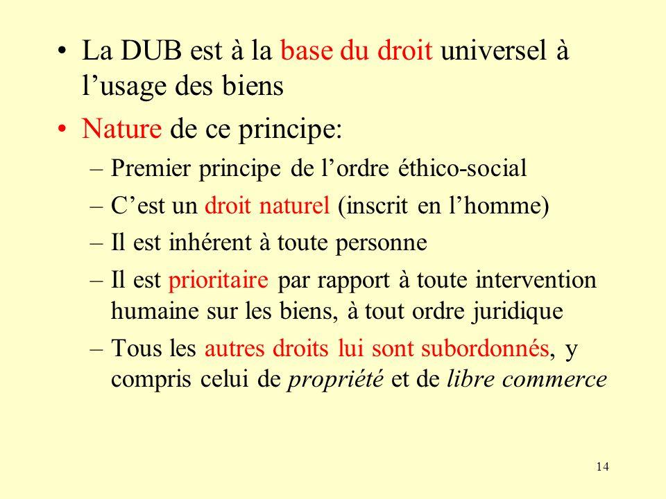 14 La DUB est à la base du droit universel à lusage des biens Nature de ce principe: –Premier principe de lordre éthico-social –Cest un droit naturel