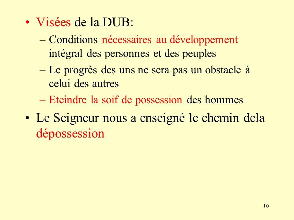 16 Visées de la DUB: –Conditions nécessaires au développement intégral des personnes et des peuples –Le progrès des uns ne sera pas un obstacle à celu