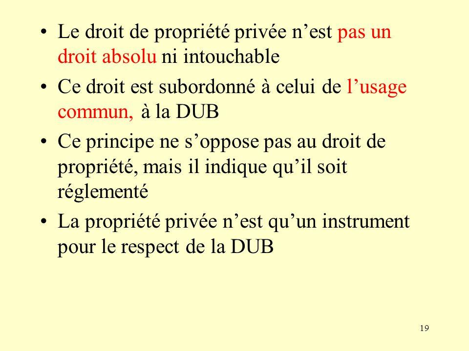 19 Le droit de propriété privée nest pas un droit absolu ni intouchable Ce droit est subordonné à celui de lusage commun, à la DUB Ce principe ne sopp