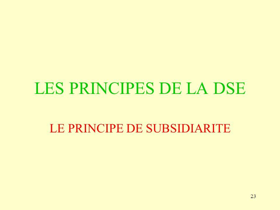 23 LES PRINCIPES DE LA DSE LE PRINCIPE DE SUBSIDIARITE