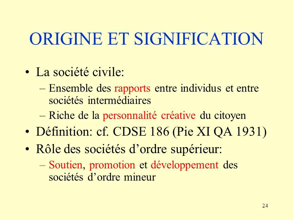 24 ORIGINE ET SIGNIFICATION La société civile: –Ensemble des rapports entre individus et entre sociétés intermédiaires –Riche de la personnalité créat