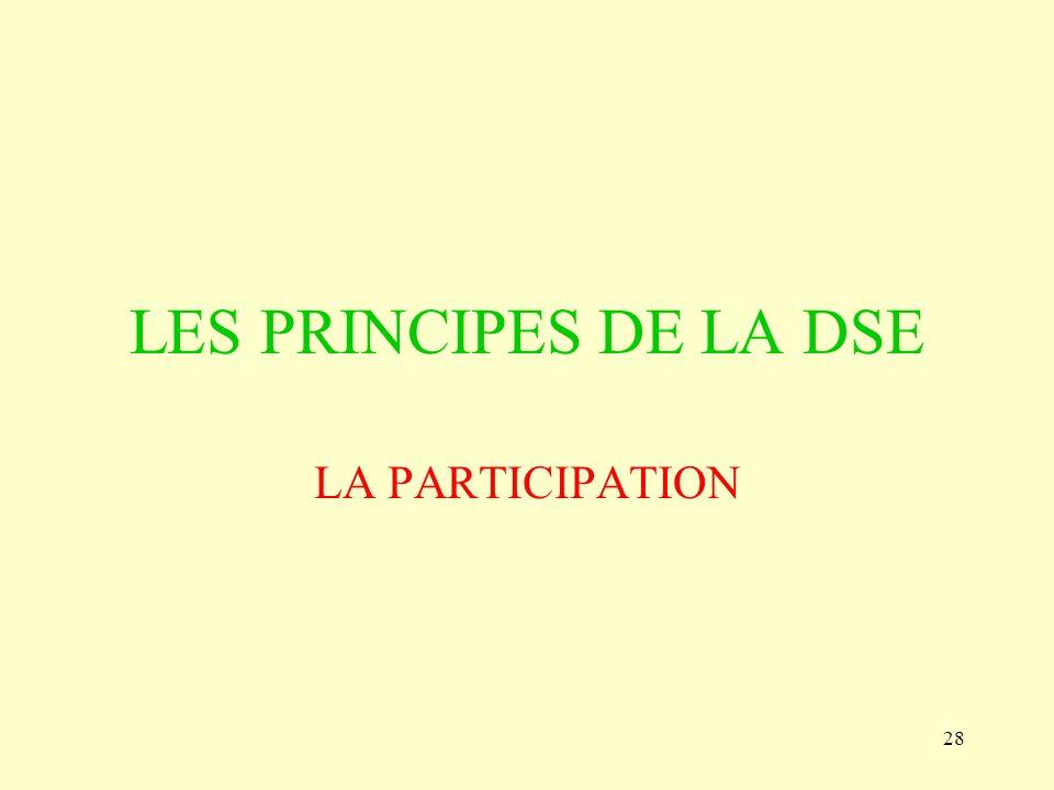 28 LES PRINCIPES DE LA DSE LA PARTICIPATION