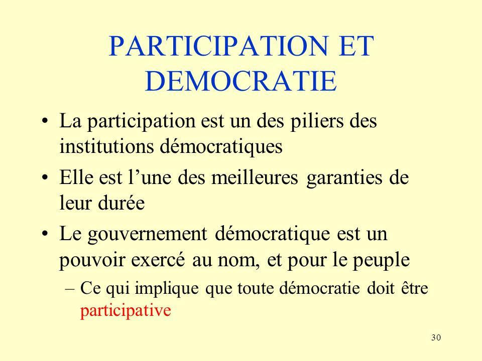 30 PARTICIPATION ET DEMOCRATIE La participation est un des piliers des institutions démocratiques Elle est lune des meilleures garanties de leur durée