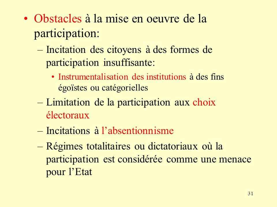 31 Obstacles à la mise en oeuvre de la participation: –Incitation des citoyens à des formes de participation insuffisante: Instrumentalisation des ins