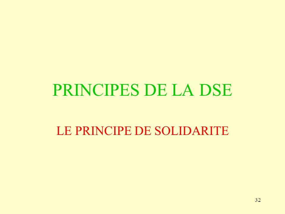 32 PRINCIPES DE LA DSE LE PRINCIPE DE SOLIDARITE