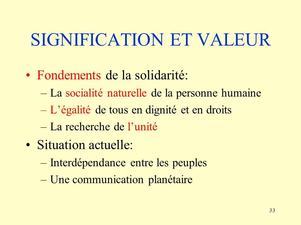 33 SIGNIFICATION ET VALEUR Fondements de la solidarité: –La socialité naturelle de la personne humaine –Légalité de tous en dignité et en droits –La r