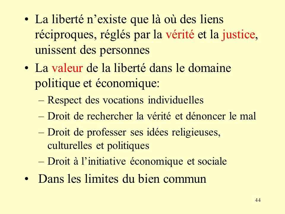 44 La liberté nexiste que là où des liens réciproques, réglés par la vérité et la justice, unissent des personnes La valeur de la liberté dans le doma