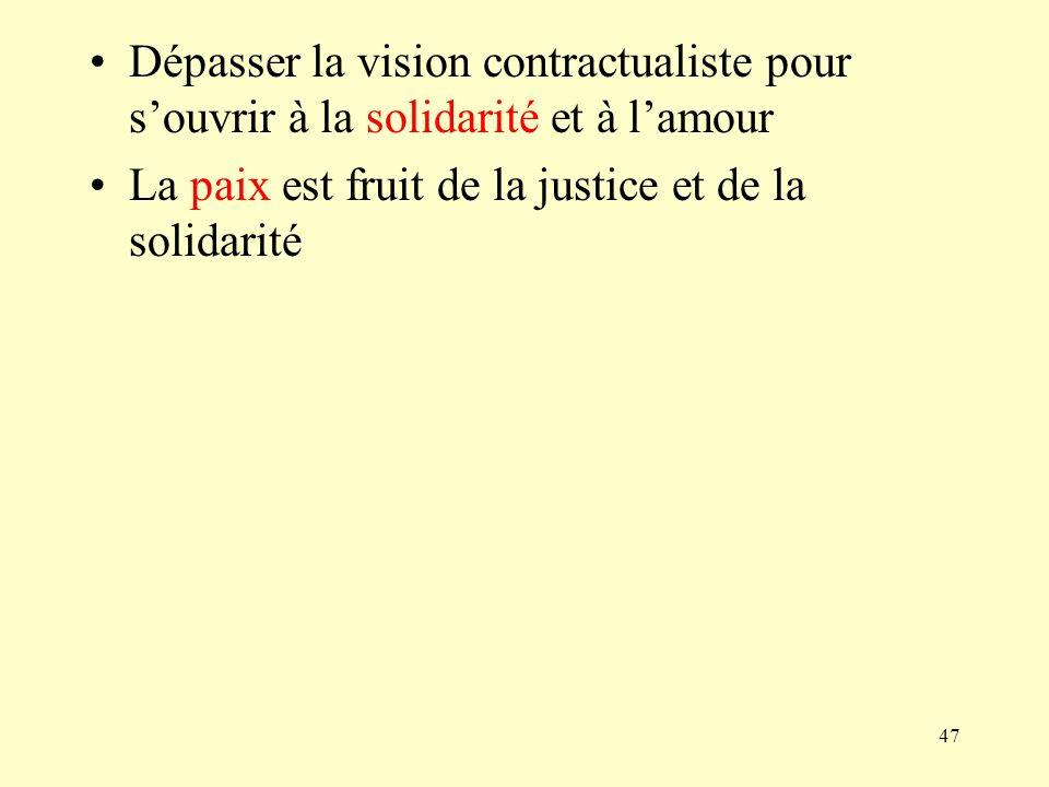 47 Dépasser la vision contractualiste pour souvrir à la solidarité et à lamour La paix est fruit de la justice et de la solidarité