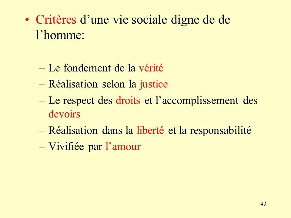 49 Critères dune vie sociale digne de de lhomme: –Le fondement de la vérité –Réalisation selon la justice –Le respect des droits et laccomplissement d