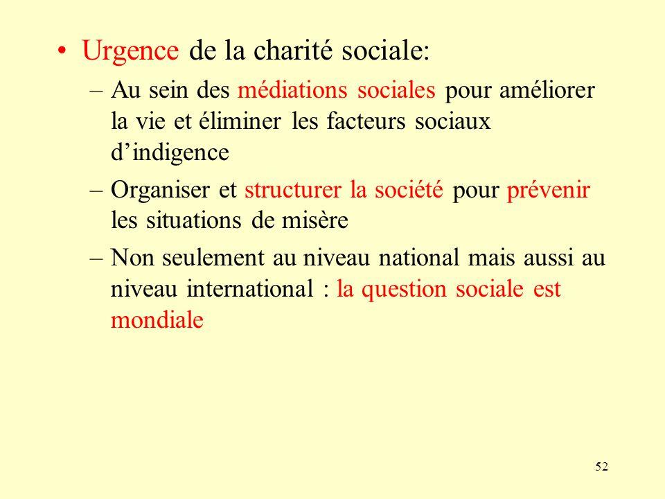 52 Urgence de la charité sociale: –Au sein des médiations sociales pour améliorer la vie et éliminer les facteurs sociaux dindigence –Organiser et str