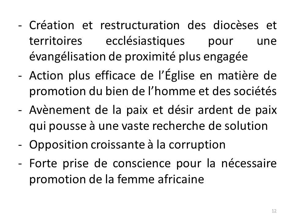 -Création et restructuration des diocèses et territoires ecclésiastiques pour une évangélisation de proximité plus engagée -Action plus efficace de lÉ
