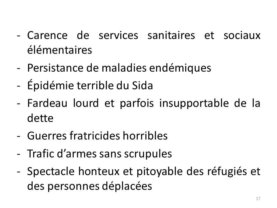 -Carence de services sanitaires et sociaux élémentaires -Persistance de maladies endémiques -Épidémie terrible du Sida -Fardeau lourd et parfois insup