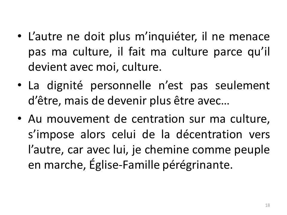 Lautre ne doit plus minquiéter, il ne menace pas ma culture, il fait ma culture parce quil devient avec moi, culture. La dignité personnelle nest pas